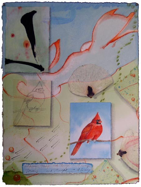 """Cardinal Bliss"", collaged drawings with watercolor by Kathleen O'Brien"