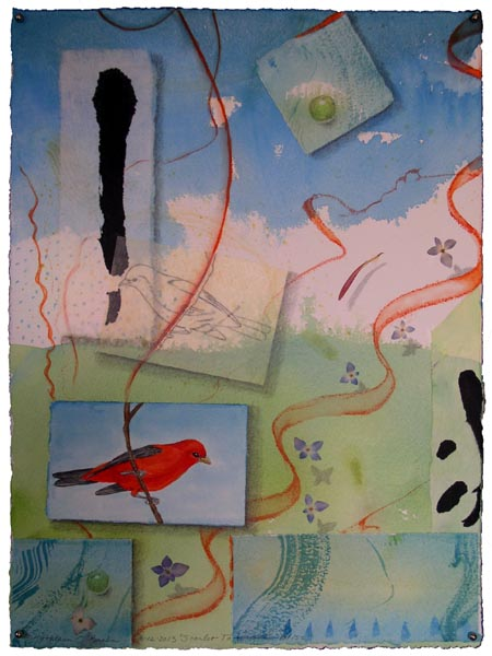 """Scarlet Tanager Bliss"", collaged drawings with watercolor by Kathleen O'Brien"