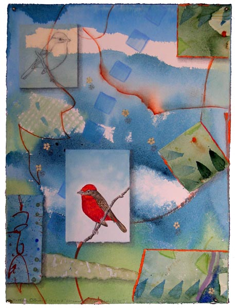 """Vermilion Flycatcher Bliss"", collaged drawings with watercolor by Kathleen O'Brien"