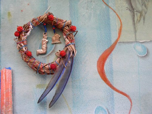 "Kathleen O'Brien, ""Talisman for Eastern Bluebirds"", process, detail of the talisman finished & secured to the watercolor"