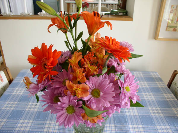 Snow storm flowers delivered by tractor from dear husband.