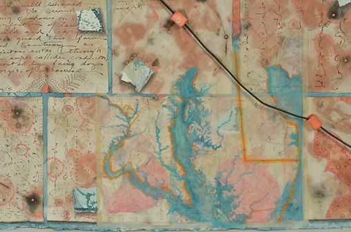 """Talisman for going On"", detail of map, watercolor, drawing, collage, objects by Kathleen O'Brien, 28 x 36"""