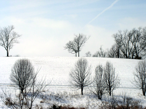 Winter Scene of the Air Shrine on Top of the Hill at Sunwise Farm & Sanctuary