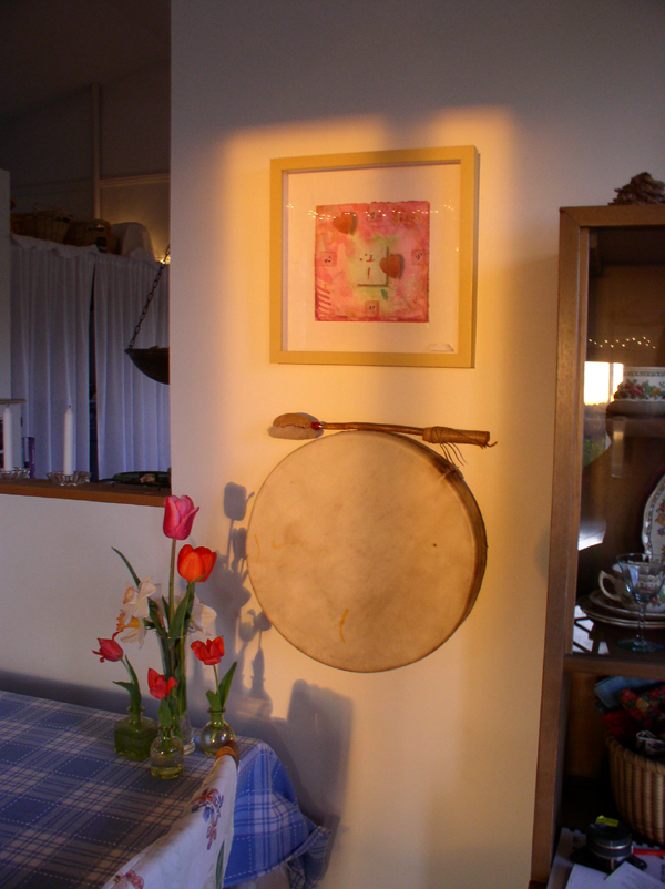 Arapahoe Drum with Spring Flowers & Rose Hearts 1 by Kathleen O'Brien