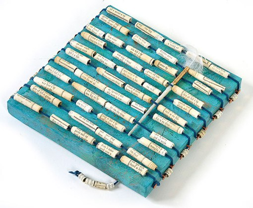 """""""Talisman for Writers"""" collaged artifact with hand made beads by Kathleen O'Brien"""