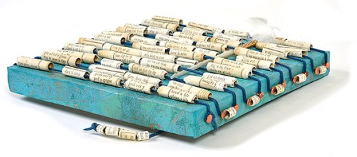 """""""Talisman for Writers"""" detail, collaged artifact with hand made beads by Kathleen O'Brien"""