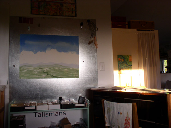 """""""Curve of the Earth, Birth of Thunder"""", watercolor on the metal easel, and view out , by Kathleen O'Brien"""