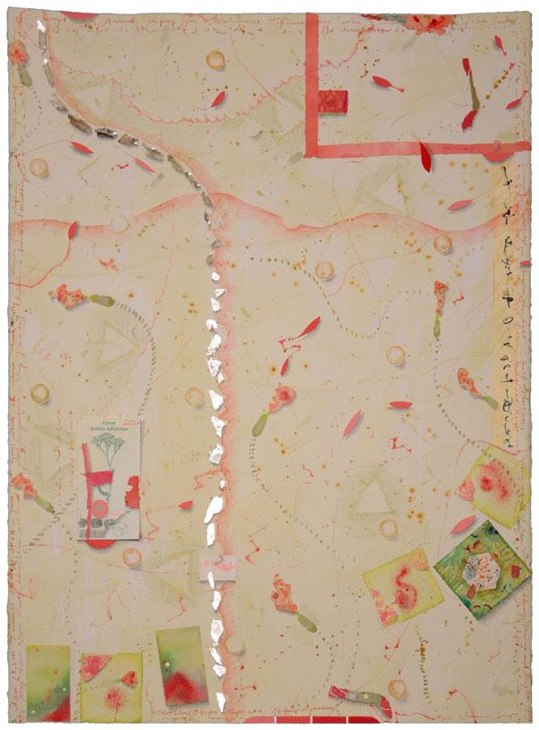"""Shining Garden, mixed media collage, 30x22"""", Kathleen O'Brien"""