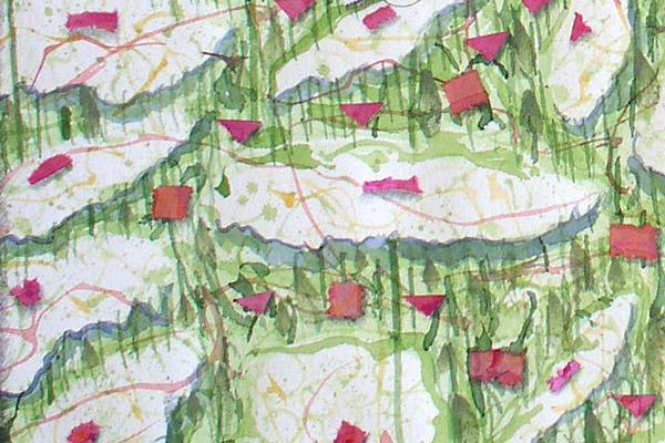 """Queen Anne's Lace Flower Essence drawing, detail from """"Queen Anne's Lace Garden"""" by Kathleen O'Brien"""