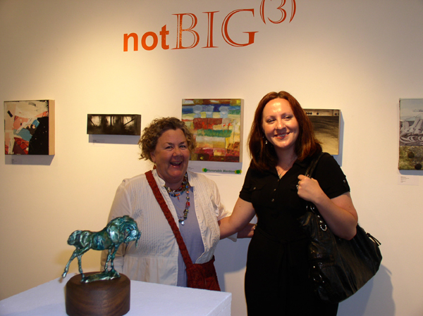 """KO'B with Laura Eklund and her """"Concentrated Openness"""" at """"notBIG(3)""""exhibit, photo Greg Orth"""