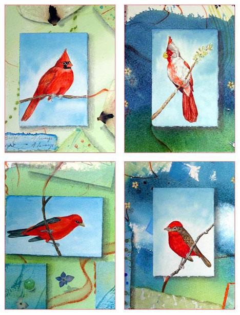 Bliss Red Birds Card Set Kathleen O'Brien