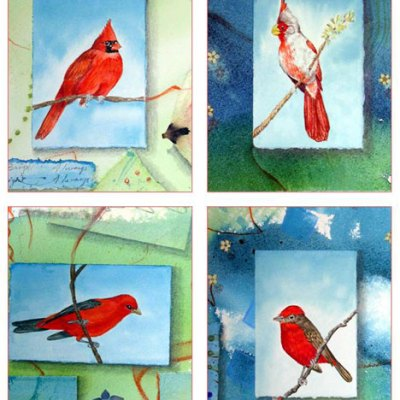 Bliss Red Birds Card Set Kathleen O'Brien