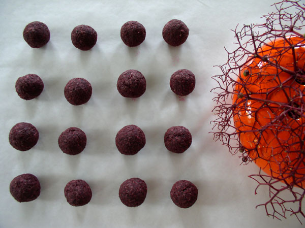 elderberry beads drying, Kathleen O'Brien