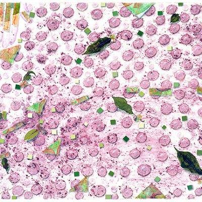 """Elder Harvest"", painting collage, 22x30"", Kathleen O'Brien"