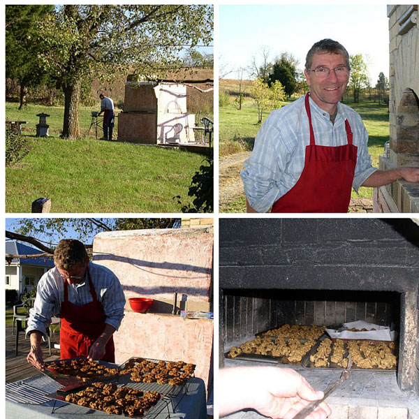Greg baking at the wood fired masonry bread oven