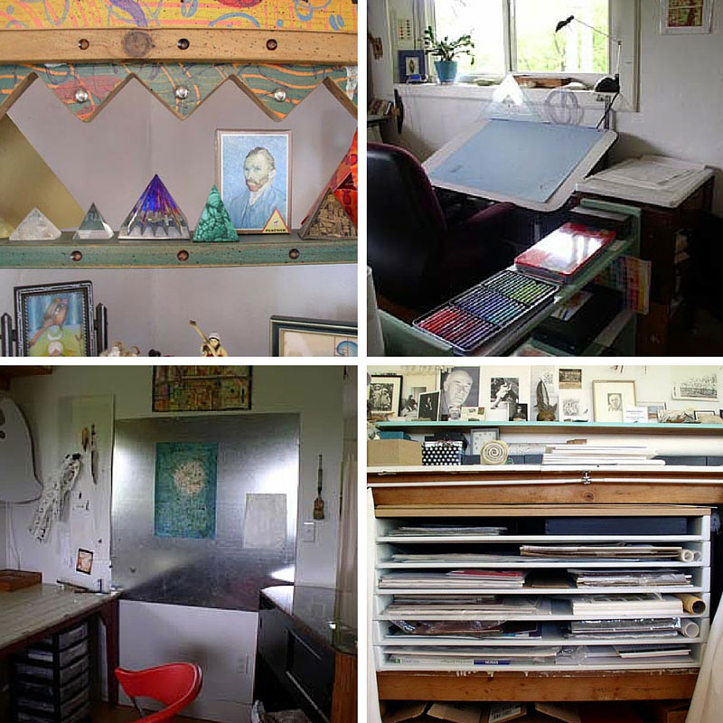 scenes of  Kathleen O'Brien's studio