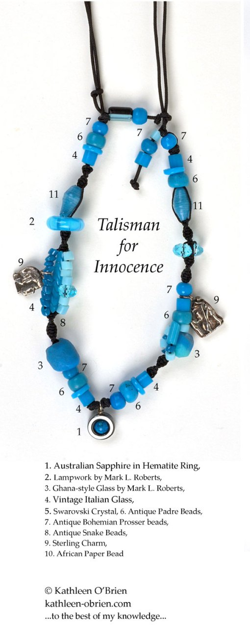 Talisman for Innocence, necklace bead ID by Kathleen O'Brien