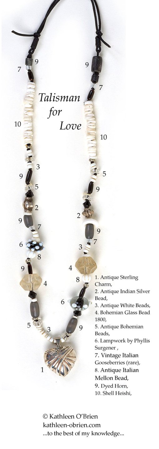 Talisman for Love, bead necklace ID by Kathleen O'Brien