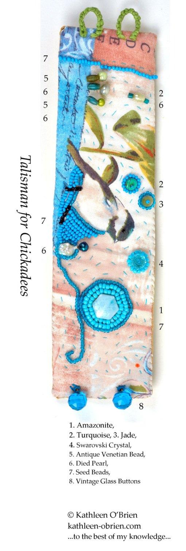 Talisman for Chickadees, cuff, bead ID by Kathleen O'Brien