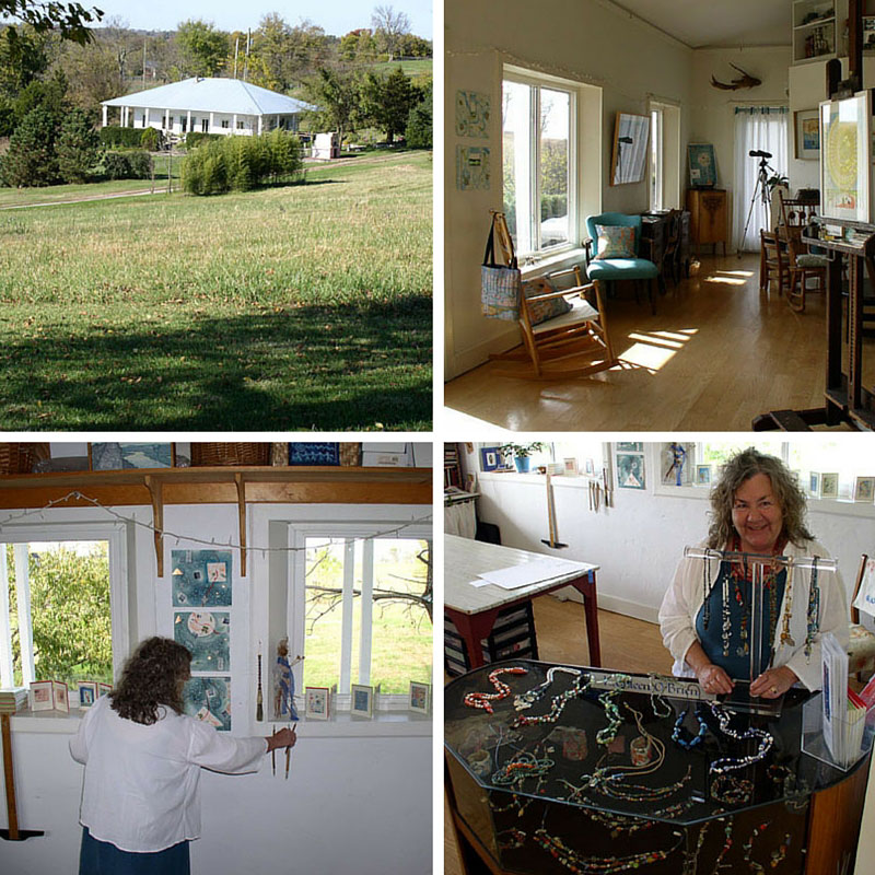 Sneak peek into Kathleen O'Brien Studio, view of home and bread oven of Sunwise Farm & Sanctuary, front room, back room and jewelry case.