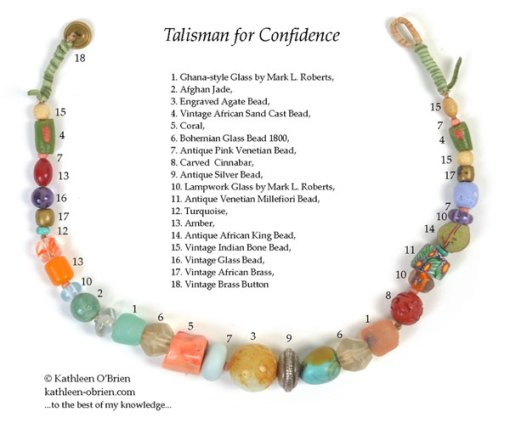 Talisman for Confidence, necklace by Kathleen O'Brien, bead ID