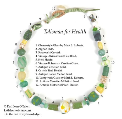 Talisman for Health, necklace by Kathleen O'Brien, bead ID