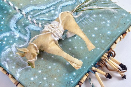 """Talisman for White Horse 2"", 12x8x1"", detail, by Kathleen O'Brien"