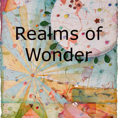 Realms of Wonder, imaginary landscape mixed media collages by Kathleen O'Brien