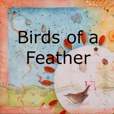 Birds of a Feather, mixed media collages featuring birds by Kathleen O'Brien