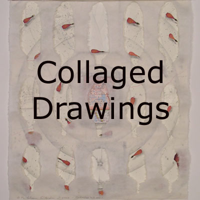 Collaged Drawings, mixed media collages by Kathleen O'Brien