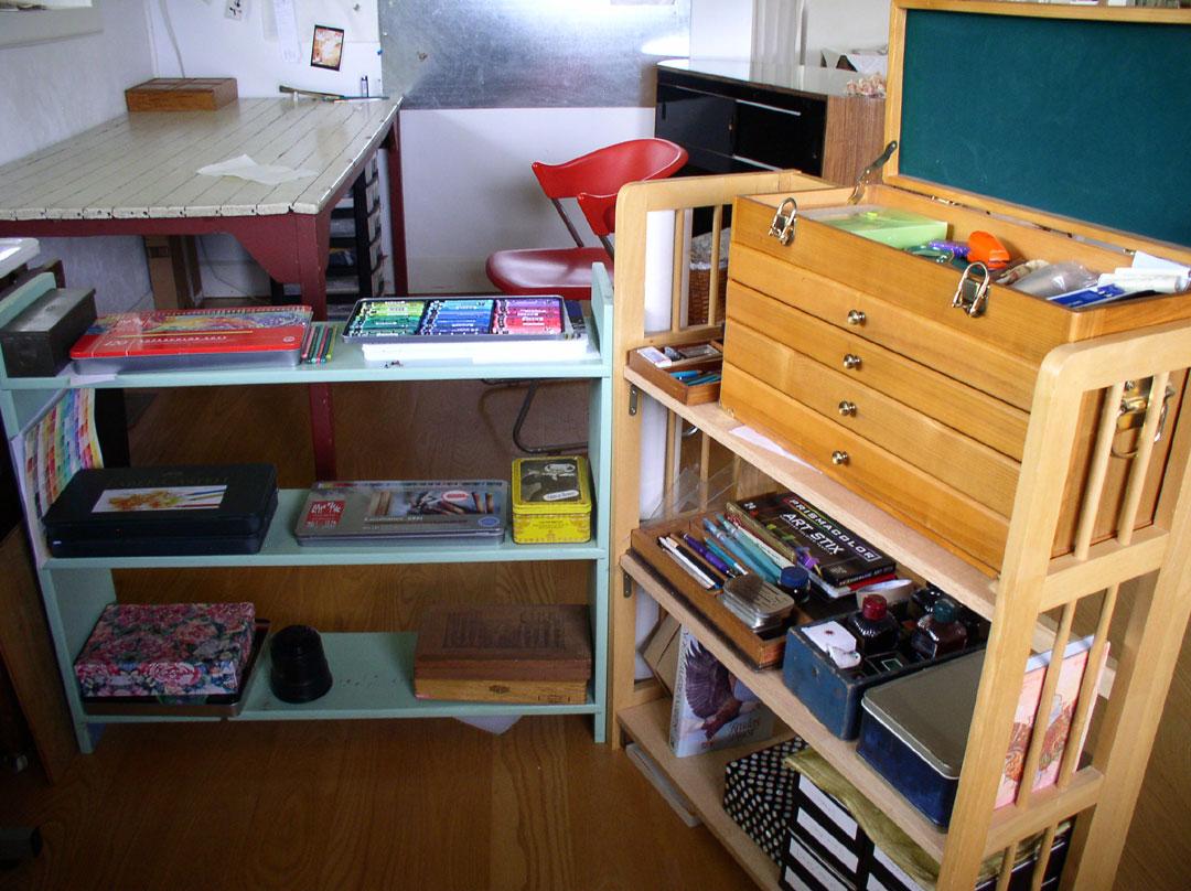 Pencil Shelves in Kathleen O'Brien Studio