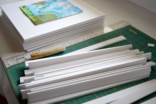 Frame Process, cutting shadow box strips by Kathleen O'Brien