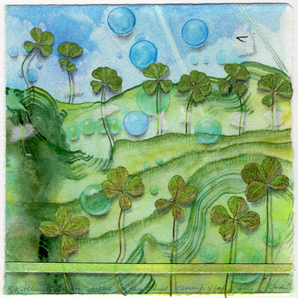 """""""Blue Planet Closeup, 4 Leaf Clover Garden"""", watercolor, drawing collage by Kathleen O'Brien, 7.5x7.5"""""""