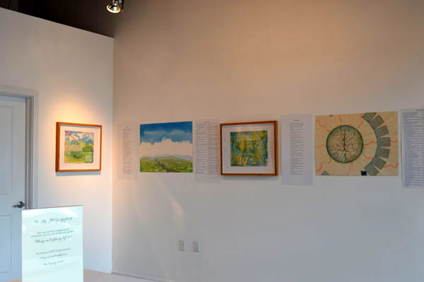 """A few artworks and poems just hung for """"Drawn to the Earth"""""""