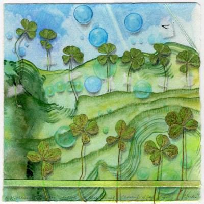 "Blue Planet Closeup, Four Leaf Clover Garden, collage by Kathleen O'Brien, 7.5x7.5"""