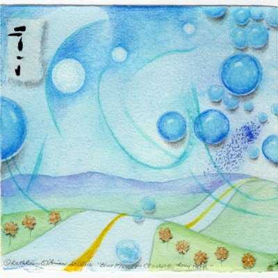 "Blue Planet Closeup, Long Path, collage by Kathleen O'Brien, 7.5x7.5"""