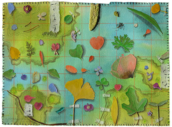 50 Botanicals, collage by Kathleen O'Brien, 14×17″