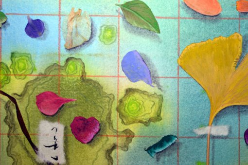 50 Botanicals, collage by Kathleen O'Brien, detail 1, 14×17″