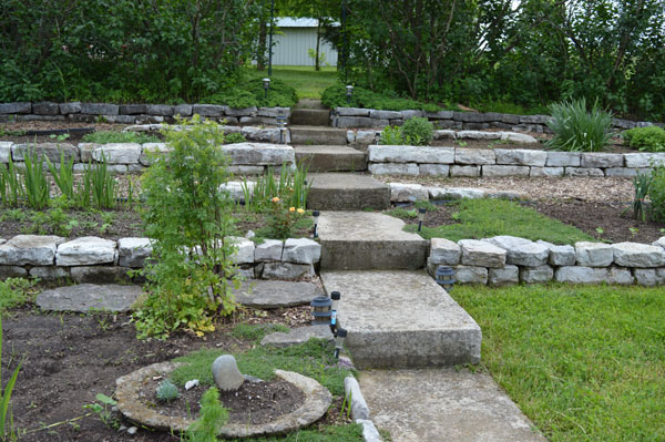 Greg's new terrace work with Shaker quarried Stone on 5,11.16 at Sunwise Farm and Sanctuary