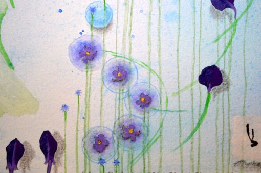 """Blue Planet Closeup, Forget Me Not, detail 1, collage by Kathleen O'Brien, 7.5x7.5"""""""
