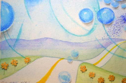 Blue Planet Closeup, Long Path, detail 1, collage by Kathleen O'Brien, 7.5x7.5""