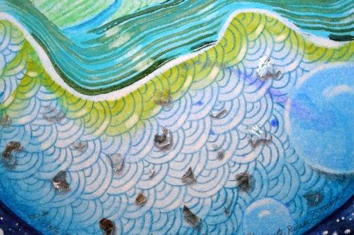 "Blue Planet Closeup, River, Ocean, detail 1, collage by Kathleen O'Brien, 7.5x7.5"""