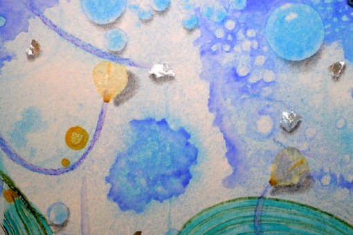 """Blue Planet Closeup, Wind, detail, collage by Kathleen O'Brien, 7.5x7.5"""""""
