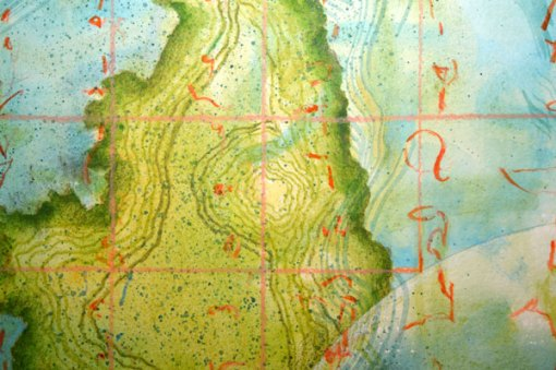 """Worlds of Islands, Detail 1, collage by Kathleen O'Brien, 14x17"""""""