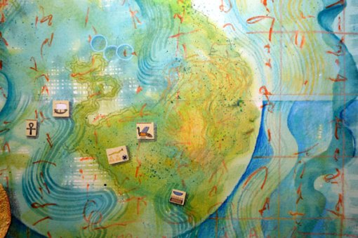 """Worlds of Islands, Detail 3, collage by Kathleen O'Brien, 14x17"""""""