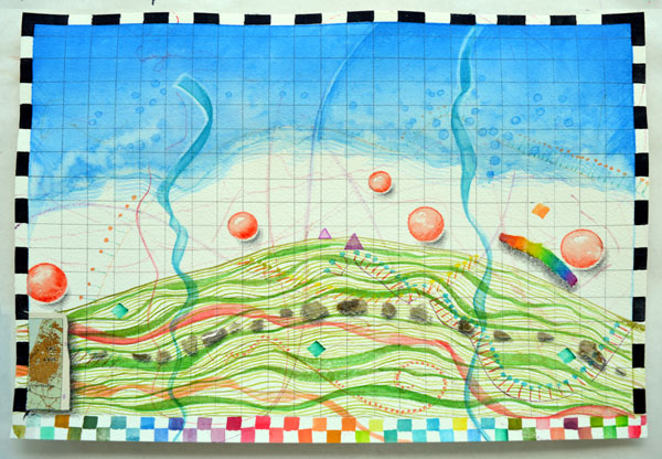 """""""Mound Map"""", 9x12"""", watercolor, drawing, collage by Kathleen O'Brien"""