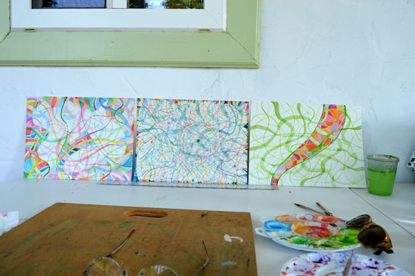 """Solstice to Lughnasa 1, 2 & 3"" in process in the outdoor studio by Kathleen O'Brien"
