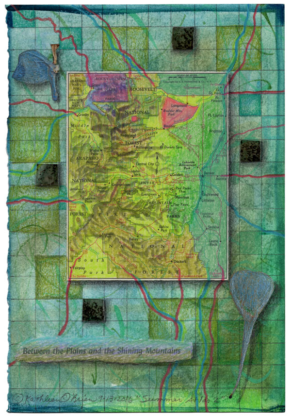 """""""Summer Atlas 2"""", 9x6"""", watercolor, drawing, mica, map, collage by Kathleen O'Brien"""