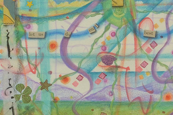 """Let us do our best, even if it gets us nowhere."", detail, watercolor, drawing, collage by Kathleen O'Brien"