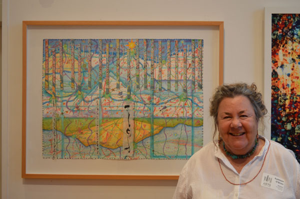 """""""Let us do our best, even if it gets us nowhere."""", watercolor, drawing, collage by Kathleen O'Brien at Horizon: Contemporary Landscape exhibit"""